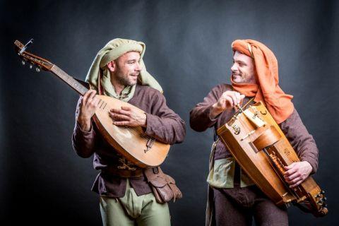 Middeleeuwse Troubadour met Gitaarluit